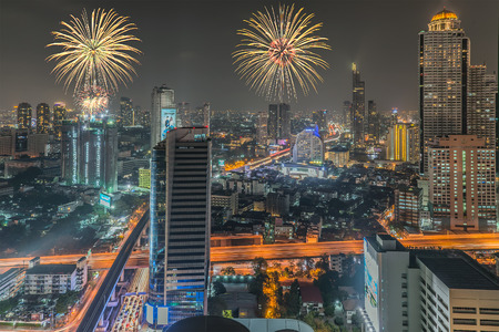 Fireworks in Bangkok  in night time photo