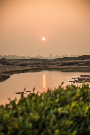 Sunrise in Sampanbok , in Mekong River, Ubon Ratchathani  Grand canyon in Thailand