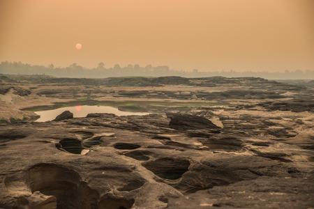 unsheathing: Sunrise in Sampanbok , in Mekong River, Ubon Ratchathani  Grand canyon in Thailand