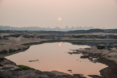 Heart pond in Sampanbok , in Mekong River, Ubon Ratchathani  Grand canyon in Thailand Stock Photo