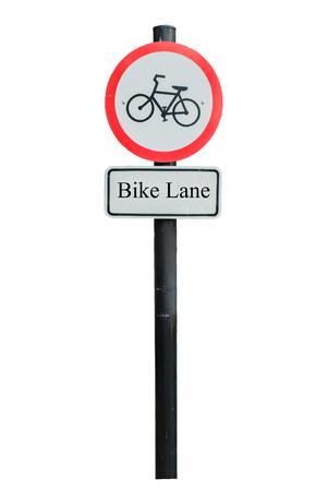 bicycle lane: Bicycle lane sign on white