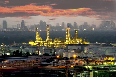 Petrochemical plant   oil refinery   industry at dusk