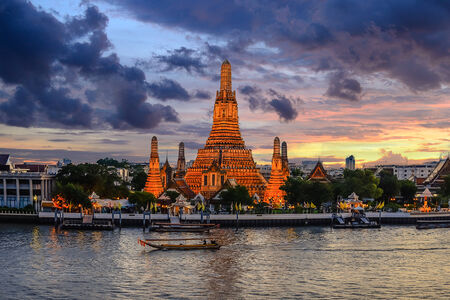 Prang of Wat Arun in Bangkok ,Thailand photo