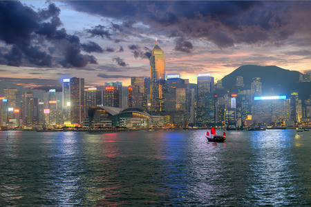 Skyline of Hong Kong at sunset  photo