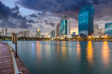 building on fire: Commercial buildings in Bangkok Stock Photo