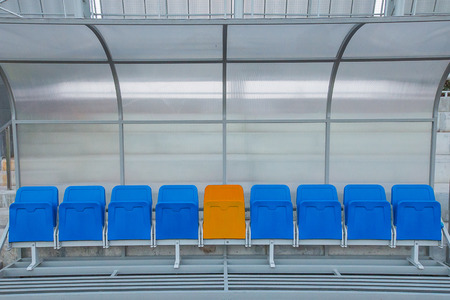 substitute: Reserve and staff coach bench in sport stadium