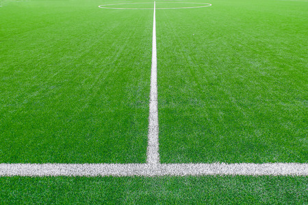 Soccer field detail with white lines photo