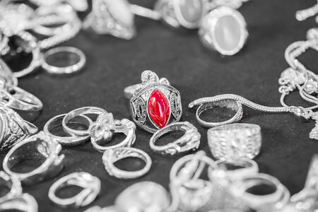 silver ring: Silver ring with red stones  ruby