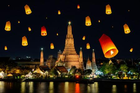 Wat arun under loy krathong day ,Thailand photo