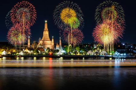 phraya: Wat arun under new year celebration time, Thailand Stock Photo