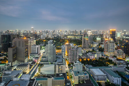silom: Modern Commercial City  Bangkok  in night