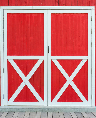 red door: red old barn door Stock Photo