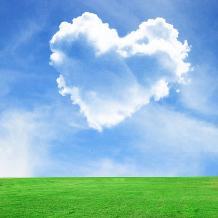 Picture of a heart cloud on blue sky and green field photo