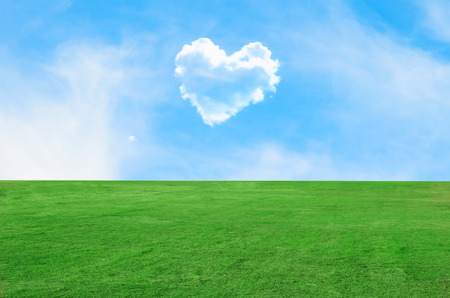 Picture of a heart cloud on blue sky and green field Reklamní fotografie