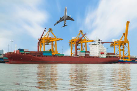 Container Cargo freight ship and plane with working crane bridge in shipyard  for Logistic Import Export background photo