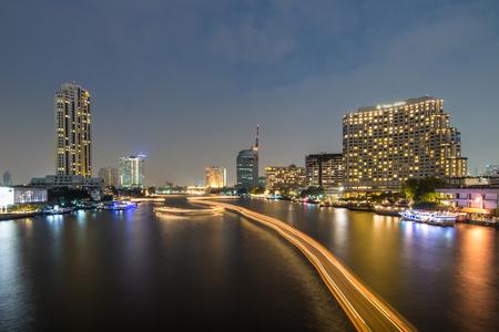 chao phraya river: Chao Phraya River night scene in Bangkok, Thailand Stock Photo
