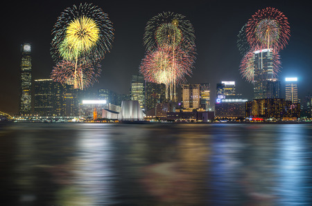 fire works: Hong Kong Chinese New Year Fireworks at Victoria Harbour