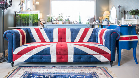 old sofa: Union jack sofa in living room