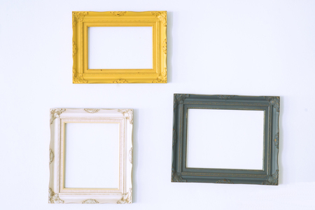 matted: Old antique picture frame on wall  Vintage style decorate