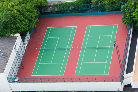 Aerial view of tennis court photo