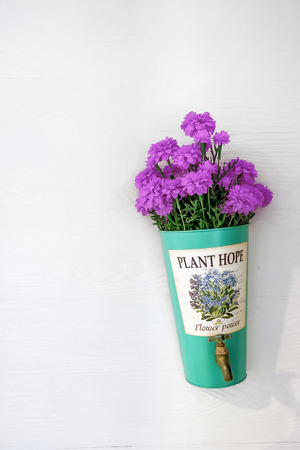 implanted: flower pot with  purple flowers hanging on a house wall
