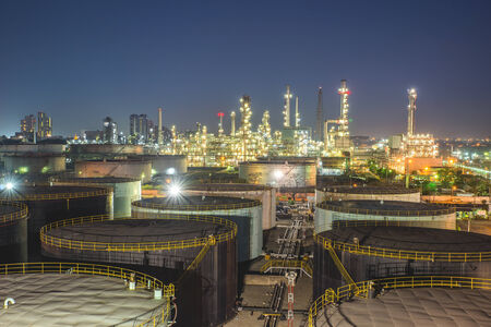 Oil refinery at twilight photo