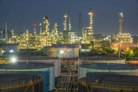 oil pipeline: Oil refinery at dramatic twilight