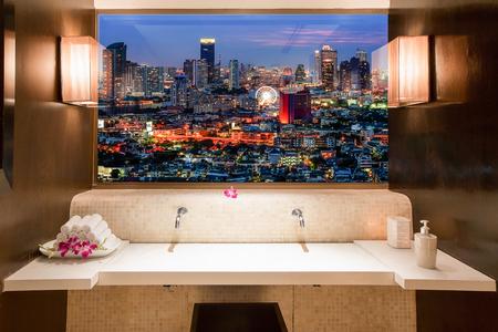 through the window: Bangkok cityscape  view through window in room Stock Photo