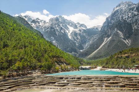 White Water River waterfall and Jade Dragon Snow Mountain, Lijiang, Yunnan China.