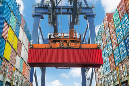 marine industry: Shore crane lifts container during cargo operation in port