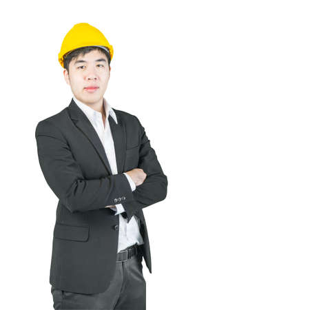 coverall: Asian engineer with drawings standing isolated on white background clipping path