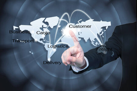global logistics: Business man working with virtual interface use for Logistics background Stock Photo