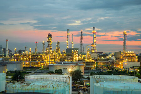 Oil refinery at dramatic twilight in Thailand photo