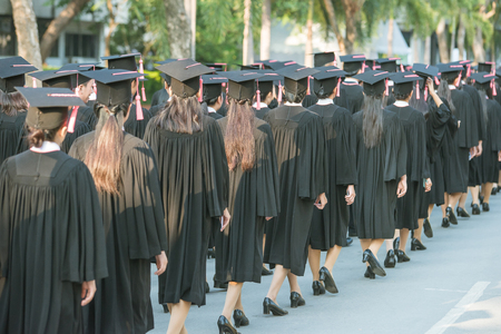 backside of graduates during commencement.