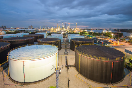 manufacturing plant: Landscape of oil refinery industry with oil storage tank
