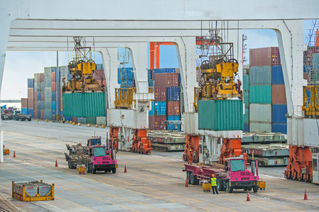 container operation in sea port photo