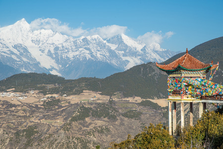 Tibet pavilion and Meili Snow Mountain in Yunnan photo