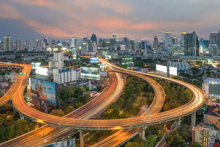 expressway: Bangkok Expressway and Highway top view, Thailand Stock Photo