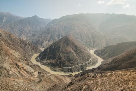 yangtze river: the Omega Bend of Yangtze River, Yunnan Province, China Stock Photo