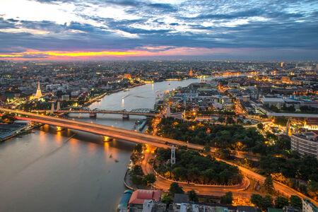 bangkok city: View of Bangkok city along Chao phraya River