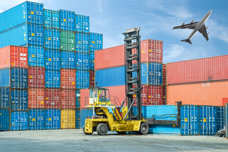 reach truck: Crane lifter handling container box loading to truck