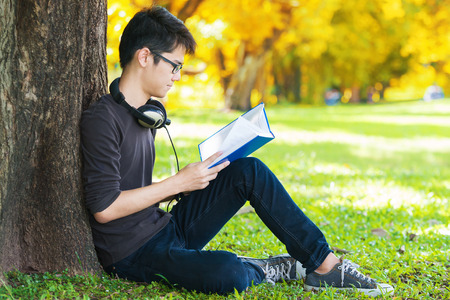 under tree: Man reading book in park, sitting under a tree. Relaxing outdoors reading. Stock Photo