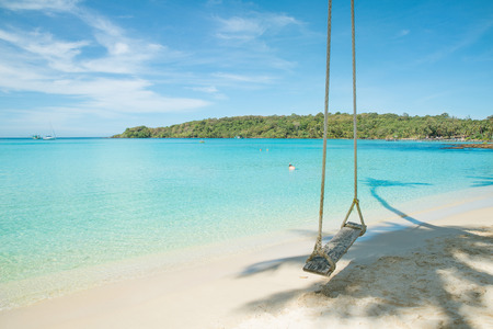 Swing hang from coconut tree over beach photo