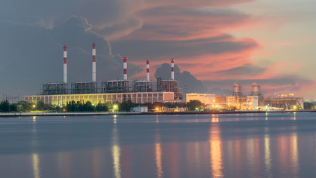 Nuclear waste: Electrical power plant in night,Bangkok Thailand