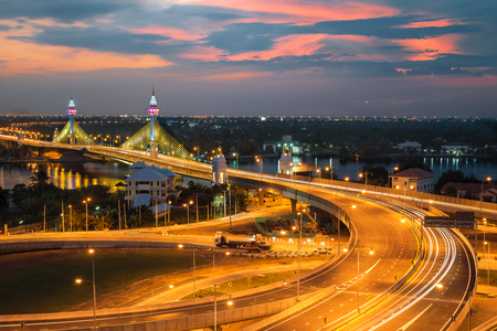express lane: Highway and Suspension bridge in Bangkok ,Thailand