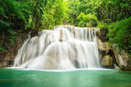 Deep forest Waterfall in Kanchanaburi,Thailand photo