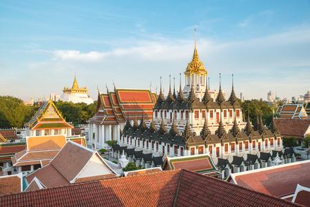 thai temple: Wat Ratchanaddaram and Loha Prasat Metal Palace in Bangkok ,Thailand