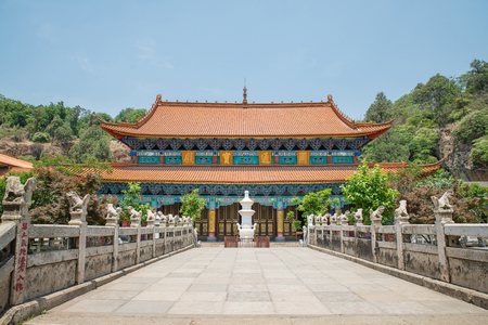 buddhist temple roof: Yuantong Kunming Temple panorama in Kunming capital city of Yunnan, China