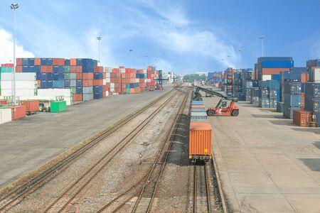 railroad station platform: Freight trains on cargo terminal