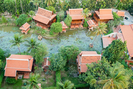 stay home work: Top view of Ancient Thai Village in Bangkok Thailand Stock Photo